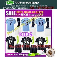 859cf4d9a kids kits 2018 2018 Manchester City MAHREZ KUN AGUERO DZEKO soccer Jersey 18  19 TOURE YAYA