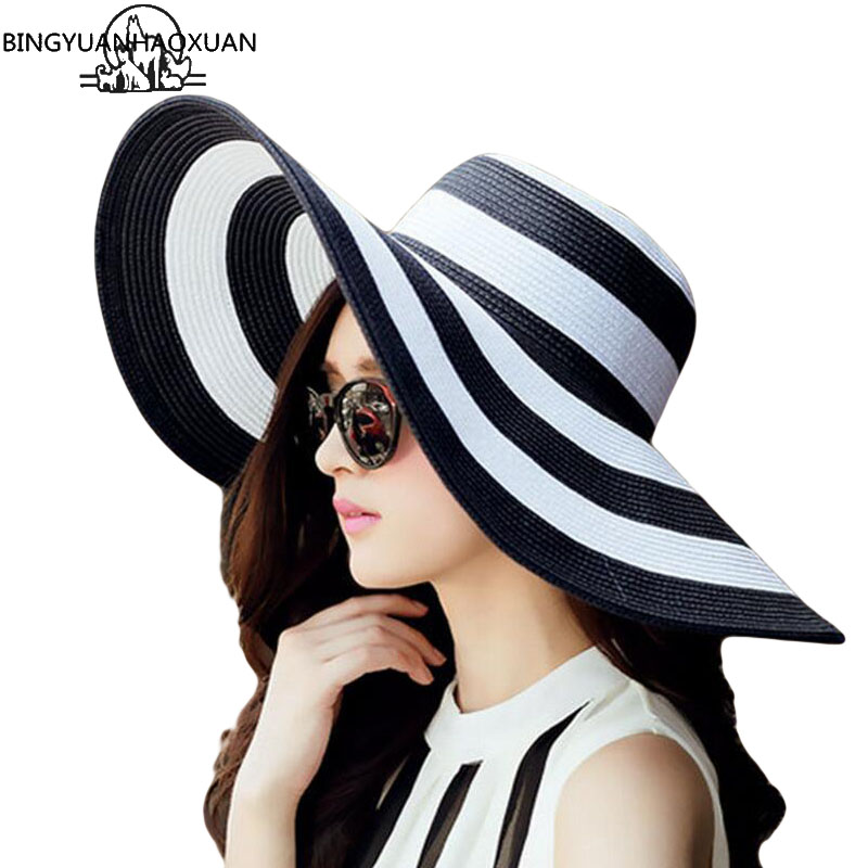 BINGYUANHAOXUAN Womens 2018 Straw Panama Sun Hat Black Striped Overflowed Floppy Fashion