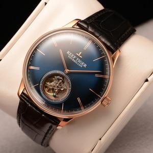 Image 2 - Мужские часы с автоматическим ремешком из натуральной кожи, с турбийоном