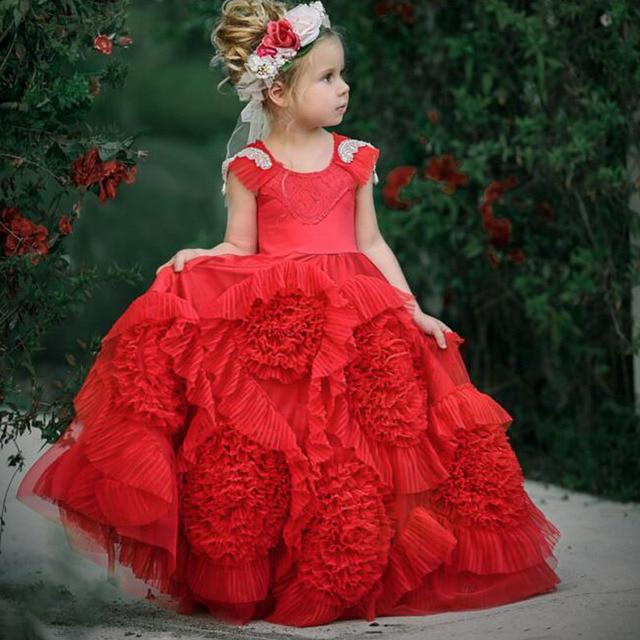 94c96a07bac5 Amazing Red Flower Girl Dresses for Wedding O Neck Cap Sleeve Cute Ruffles  Kids Prom Dresses Girls First Communion Dresses 2017
