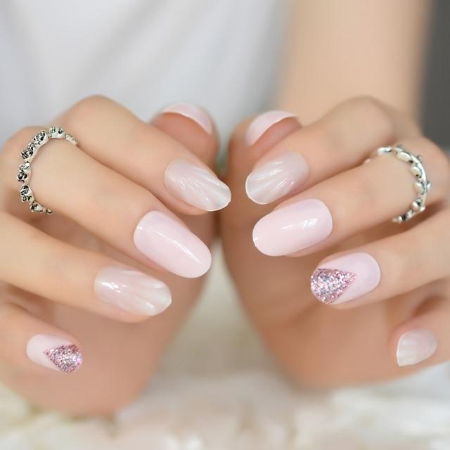 Uv Gel Nails Shell Pattern Oval Short False Light Pink Studio 24 Rainbow