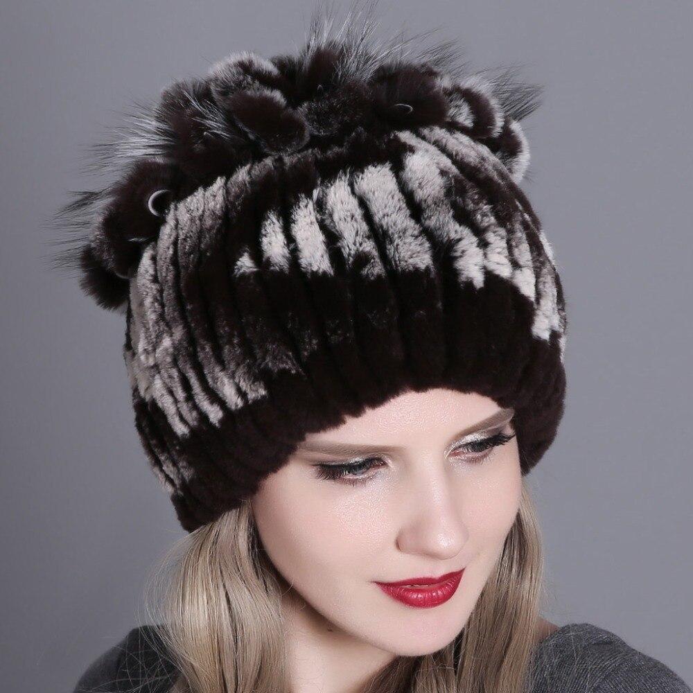 Women fur hat for winter natural rex rabbit fox fur cap russian female fur headgear 2018 brand new fashion warm beanies cap 3