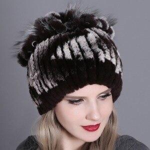 Image 4 - Women fur hat for winter natural rex rabbit fox fur cap russian female fur headgear 2018 brand new fashion warm beanies cap