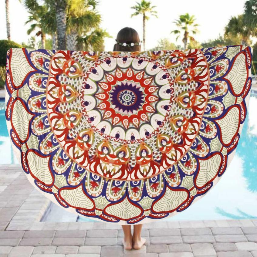 2018 Super Soft Round Beach Pool Home Shower Towel Blanket Table Cloth Yoga Mat Blanket Free Shipping DE13