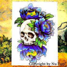 Mandala SHNAPIGN Biru Skull Temporary Body Art Tattoo Flash Stiker 21*15 cm Tahan Air Mobil Styling Dekorasi Rumah Dinding Sticker(China)