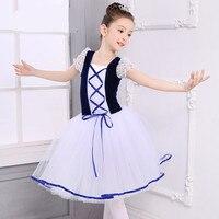New Lace Short Sleeve Children Ballet Tutu Clothing Long Tulle Dance Uniform Costumes Classique Velvet Dancewear
