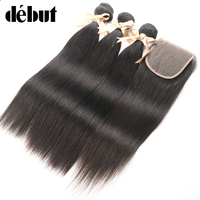 Peruvian Straight Hair 3 Bundles with Swiss Lace Closure 4x4 Human Hair Weave Bundels with Frontal Closure Free Part