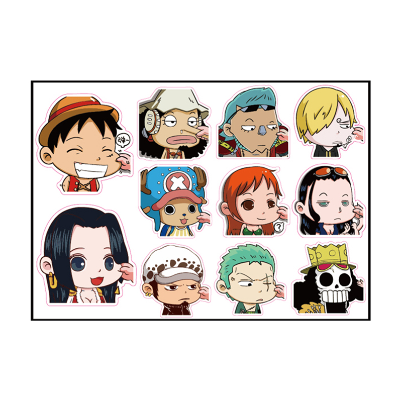 10pcs One Piece Luffy Fixed Gear/Luggage/Guitar/Motor/Cars/Refrigerator Stickers 21*29cm Cute ONEPIECE Sticker 5-10cm