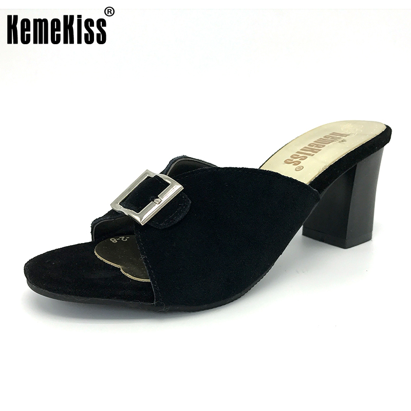 KemeKiss ladies high-heeled slippers platform square heel sequined open toe women sandals female quality shoes size33-44 PC00105 summer women leather high heeled shoes sandals rhinestone pump sandals ladies open toe slippers plus size 33 41
