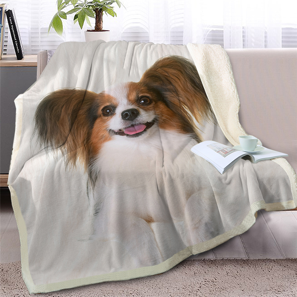 Dog Throw Blanket on Bed Sofa 3D Animal Sherpa Fleece Blanket White Pet Bedspreads Fur Printed Thin Quilt Drop Ship(China)
