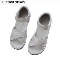 HUIFENGAZURRCS Genuine Leather Sandals,pure handmade white shoes,the retro art mori girl Flats shoes,fashion Casual shoes