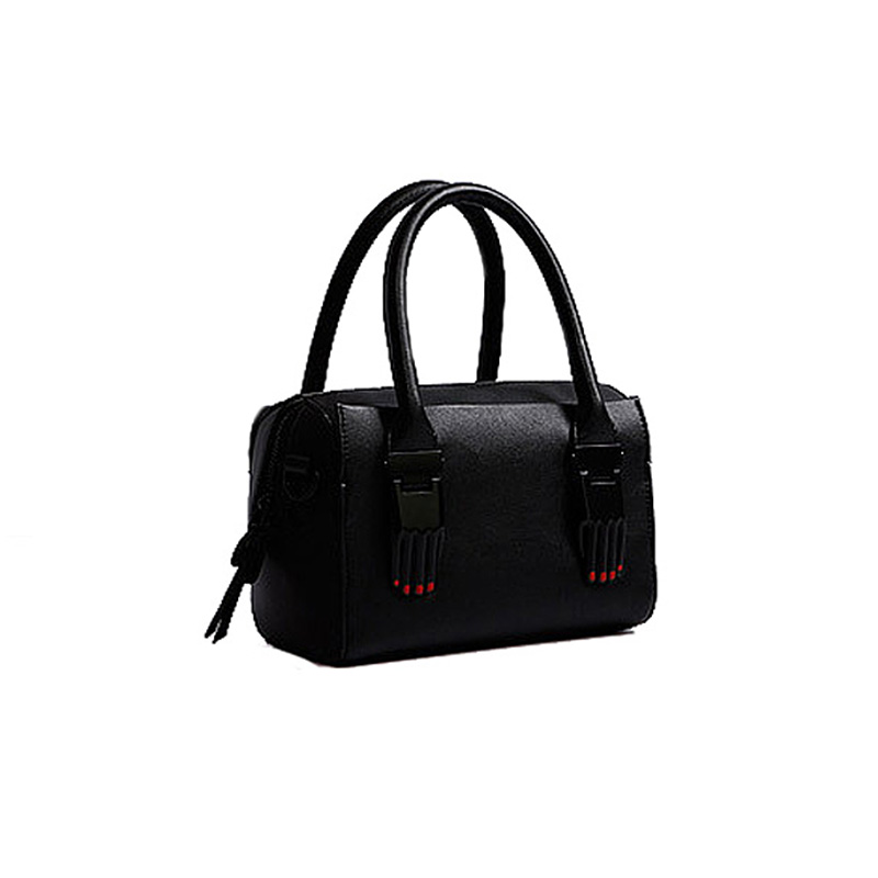 ФОТО New Brand Personality lady finger handbag women black shoulder bags female black High Quality PU leather mental Boston Bag