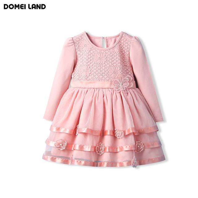 2016 Fashion Brand DOMEI TIERRA niñas Niños Ropa de bebé de algodón Boutique De rosa Floral vestido de Princesa vestido del Cabrito ropa de Fiesta
