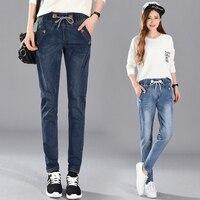 Yeni Gelmesi Kadınlar Jeans 5XL Yüksek Bel Elastik Tarzı 4xl Denim Malzeme Şekil Bak Skinny Eklenti Gübre Artan kot Yapmak