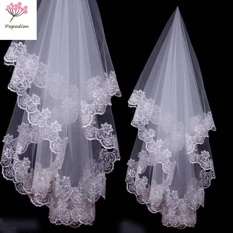 Cover Face Wedding Accessories Short Style 1.5 Meters Wedding Veil Lace Bridal Veil  No Comb WAS10107