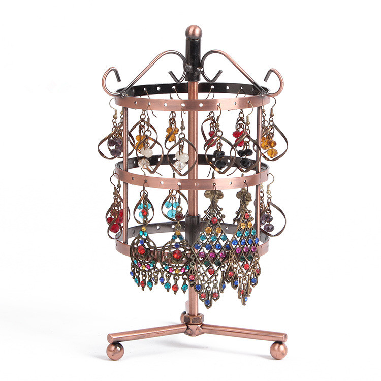 New 72 Holes Earring Display Brown Metal Turnable Necklace Jewelry Display Rack Stand Holder