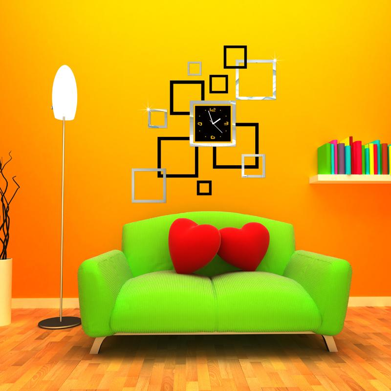 2015 new 3D Home decoration wall stickers DIY mirror wall clock ...