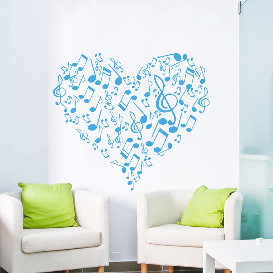 Music bathroom set - Dsu Art Vinyl Sticker Heart Musical Notes Music Studio Wall Decal Treble Clef Home Decor Bedroom
