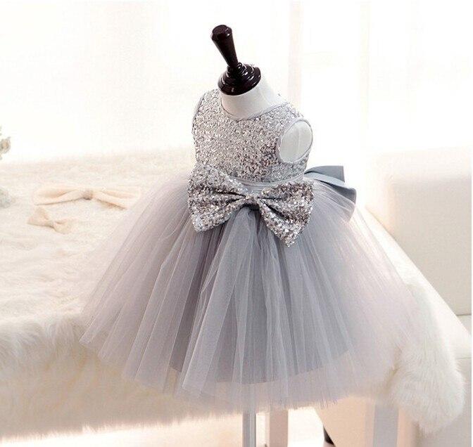 New Silver Sequins Sleeveless Princess Baby Girls Dresses Kids Wedding Dress Bow Tutu Baptism Party Gown vestido batizado