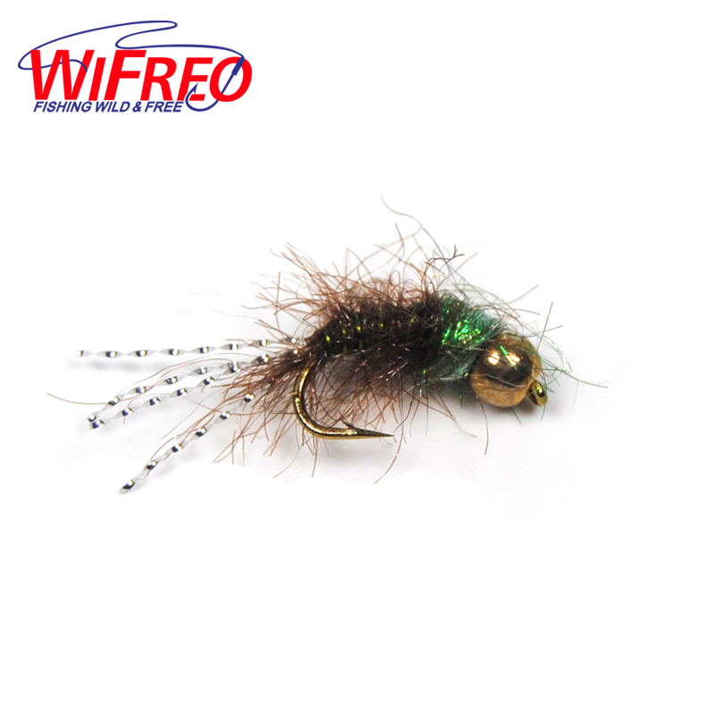 [6 PCS]  #12 New Brass Bead Head Nymph Buggy Body Flash Tail Trout Fishing Fly Bait Lures Green Olive 12pcs 14 red tail bead head buzzer nymph fly for trout fishing lures