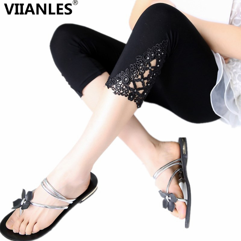 Fashion Women Summer Leggins Lace Pants Skinny Stretch Cropped Capris Pants 3/4 Length Trousers Elastic Leggings Mujer