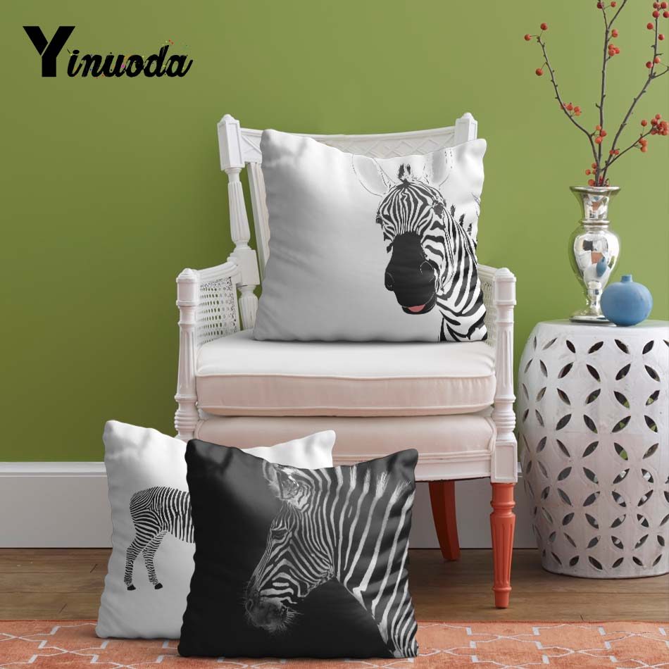 Yinuoda Zebra Cushion Cover Black and white Stripe Pillowcase Minimalist Style 14*14/16*16/18*18/20*20/24*24 inch Sofa Seat Cove