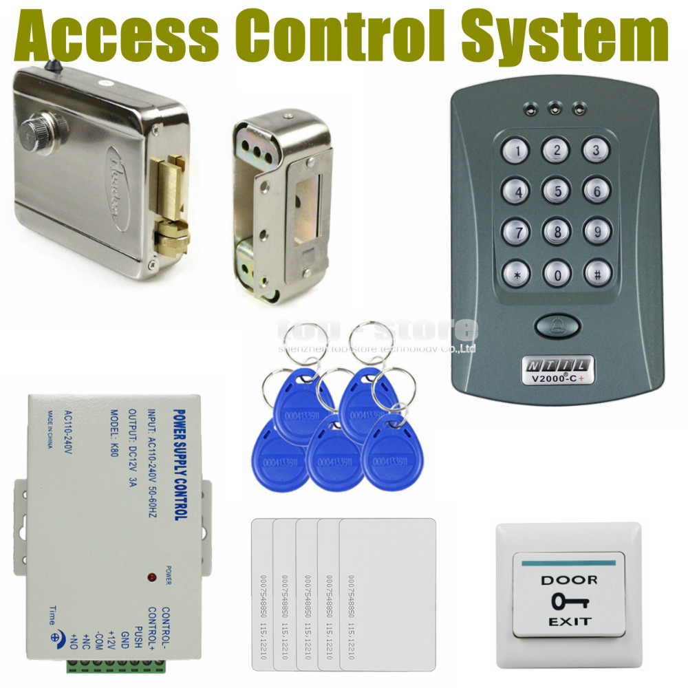DIYSECUR 125KHz RFID Password Keypad Access Control System Security Kit + Electric Lock + Exit Switch V2000-C diysecur 280kg magnetic lock 125khz rfid password keypad access control system security kit exit button k2