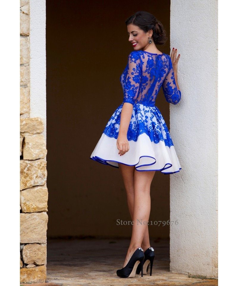 Fashionable Elegant Sheer Royal Blue Cocktail Dresses 2015 New