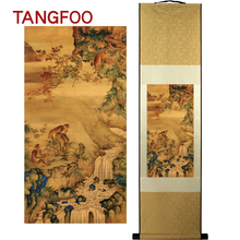 Silk Scroll Painting quick promotion in the year of monkey Picture quality Chinese painting good wish gift office new home decor