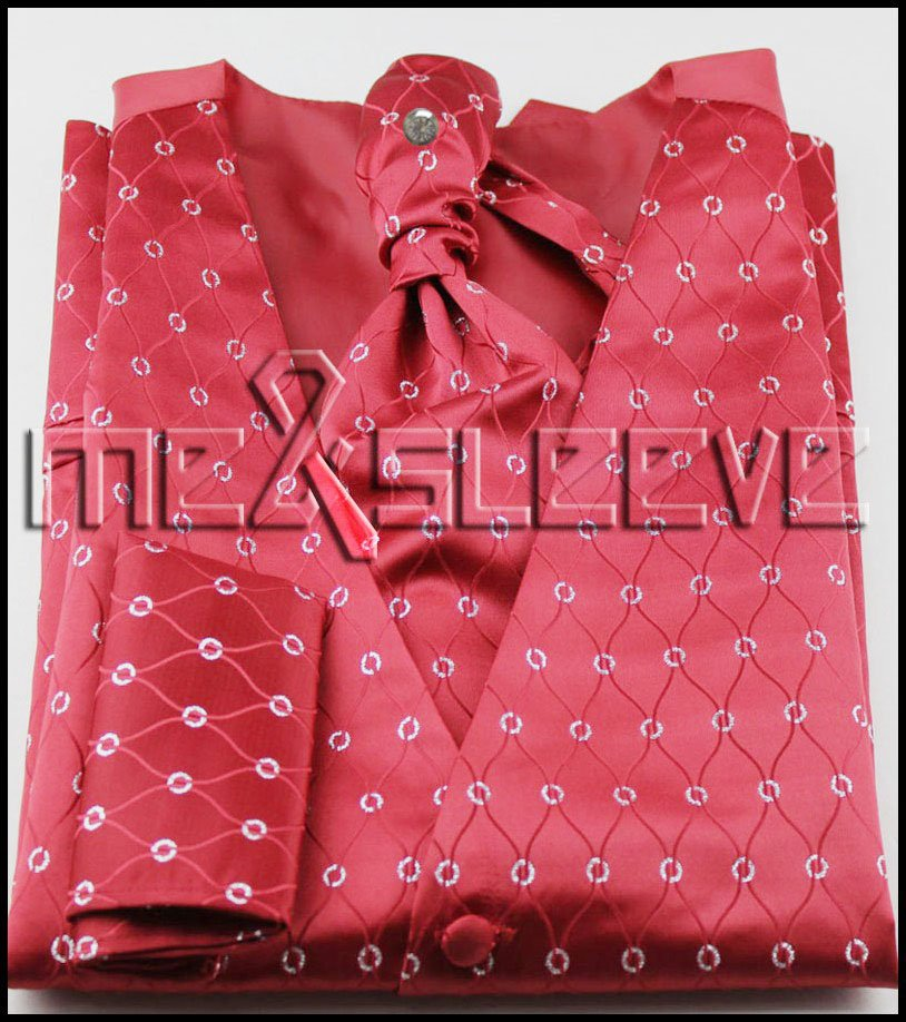new arrive free shipping red background waistcoat vest ascot tie cufflinks handkerchief