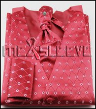 new arrive  free shipping red background  waistcoat(vest+ascot tie+cufflinks+handkerchief)