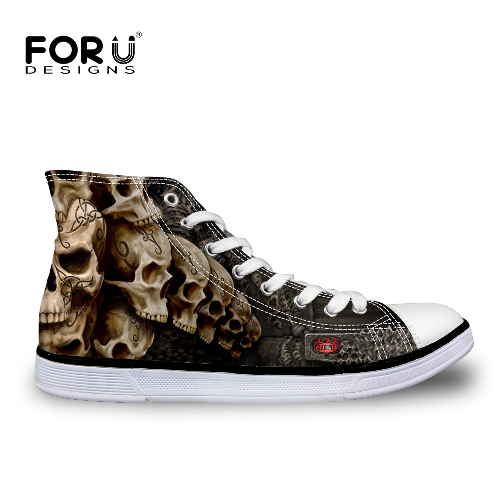 FORUDESIGNS Fashion Men's High Top Vulcanize Shoes Classic Male Lace-up Canvas Shoes for Man Cool Black Punk Skull Flat Shoes