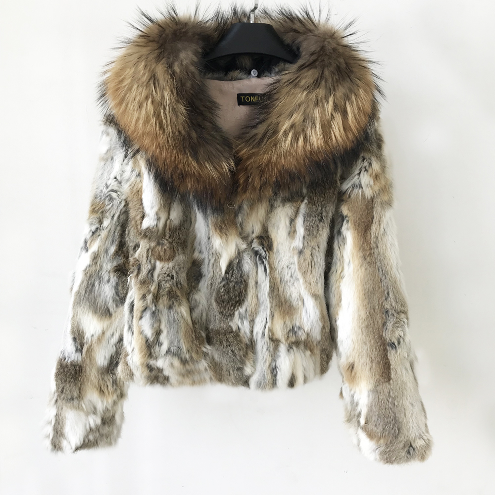Fur Coat Women Real Fur Coat Natural Rabbit Fur Jacket With Luxury Big Raccoon Fur Collar Clothes Top Quality Winter Tsr628