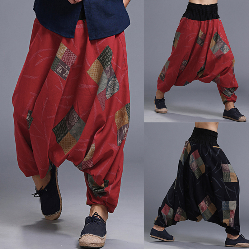 INCERUN Men's Harem Pants Ethnic Printing Big Crotch Breathable Male Trousers Retro Loose Lantern Long Pants 2020 Plus Size 5XL