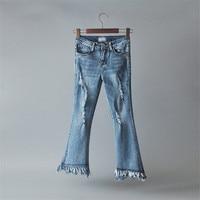 Summer Women Flare Jeans Ripped High Waisted Long Denim Pants Tassel Fashion Jeans Female Black Blue