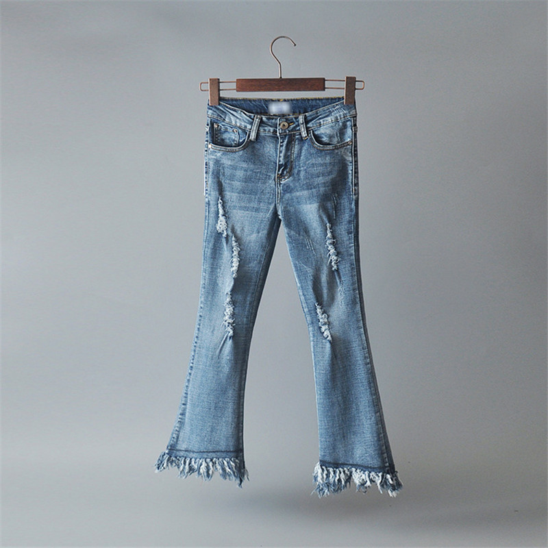 Summer Women Flare Jeans Ripped High Waisted Long Denim Pants Tassel Fashion Jeans Female Black Blue Grey Bottoms women jeans autumn new fashion high waisted boyfriend street style roll up bottom casual denim long pants sp2096
