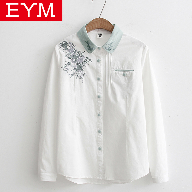 a37725b5f Camisa bordada Floral para mujer 2019 primavera nueva moda blusa de mujer  de manga larga blanco Casual camisetas sueltas Blusas femeninas