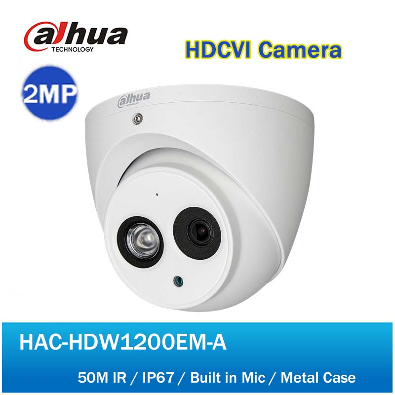 DH HAC-HDW1200EM-A HDCVI 2MP Dome Camera Built In Mic CMOS 1080P IR 50M IP66 Metal Case CVI Camera dahua camaras de seguridad dahua hdcvi dome camera 1 2 7 2megapixel cmos 1080p ir 40m ip66 dh hac hdw1200e a security camera