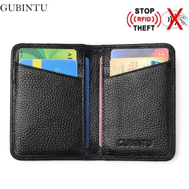 5f2141d61b79 GUBINTU Genuine Leather Credit Card Holder Men Designer Card Wallet Rfid  Mini Car-Covers For Documents Porte Carte-- BID176 PM49