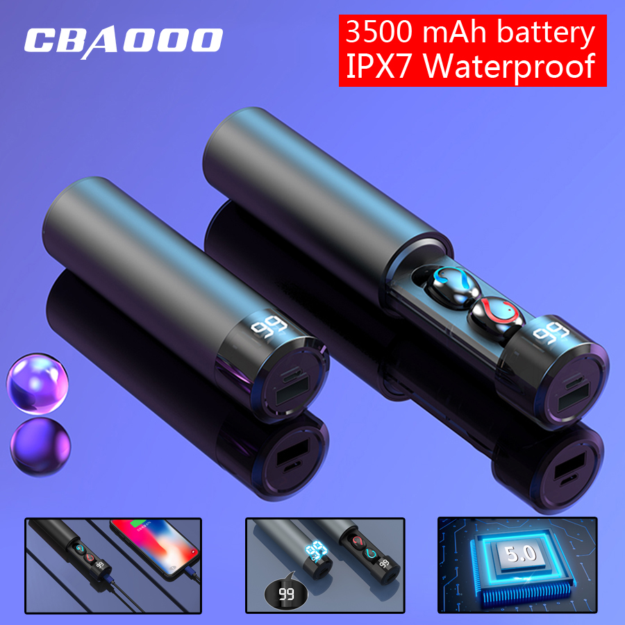 CBAOOO F7 TWS 5 0 Bluetooth Earphone 6D Stereo Wireless Earphones In-ear PX7 Waterproof Headset 3500mAh LED Smart Power Bank