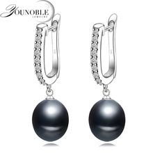 Prawdziwe naturalne czarne kolczyki perłowe dla kobiet piękne 925 srebrne słodkowodne kolczyki party z perłami tanie tanio You Noble Pearl Freshwater Pearls 8-9mm Srebrny 925 Sterling Trendy Okrągłe E80525 partyl earrings Strona 140110435 Drop Earrings