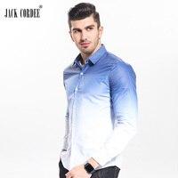 JACK CORDEE New 2017 Spring Fashion Gradient Slim Fit Shirt Men Casual Cotton Long Sleeve Dress