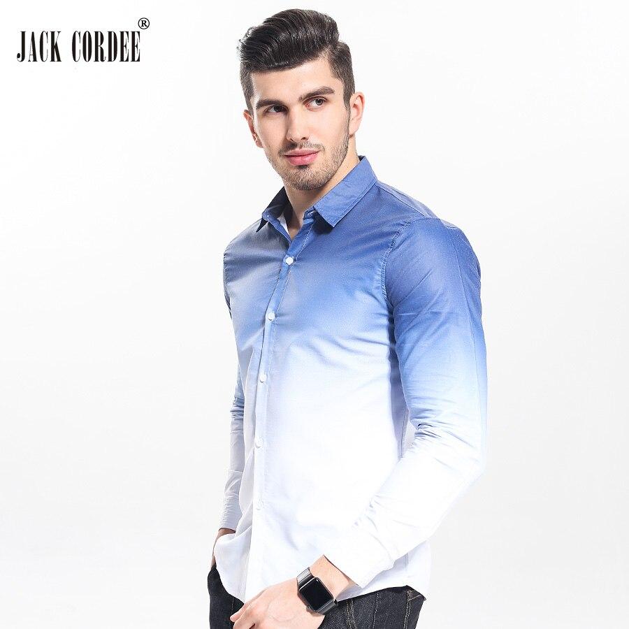 Jack cordee бренд Мода 2017 г. Для мужчин рубашка белый градиент Дизайн рубашка узкого кроя Для мужчин Повседневное с длинным рукавом Сорочки выходные для мужчин Костюмы