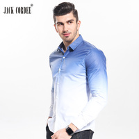 JACK CORDEE New 2017 Spring Fashion Gradient Slim Fit Shirt Men Casual Cotton Long Sleeve Dress