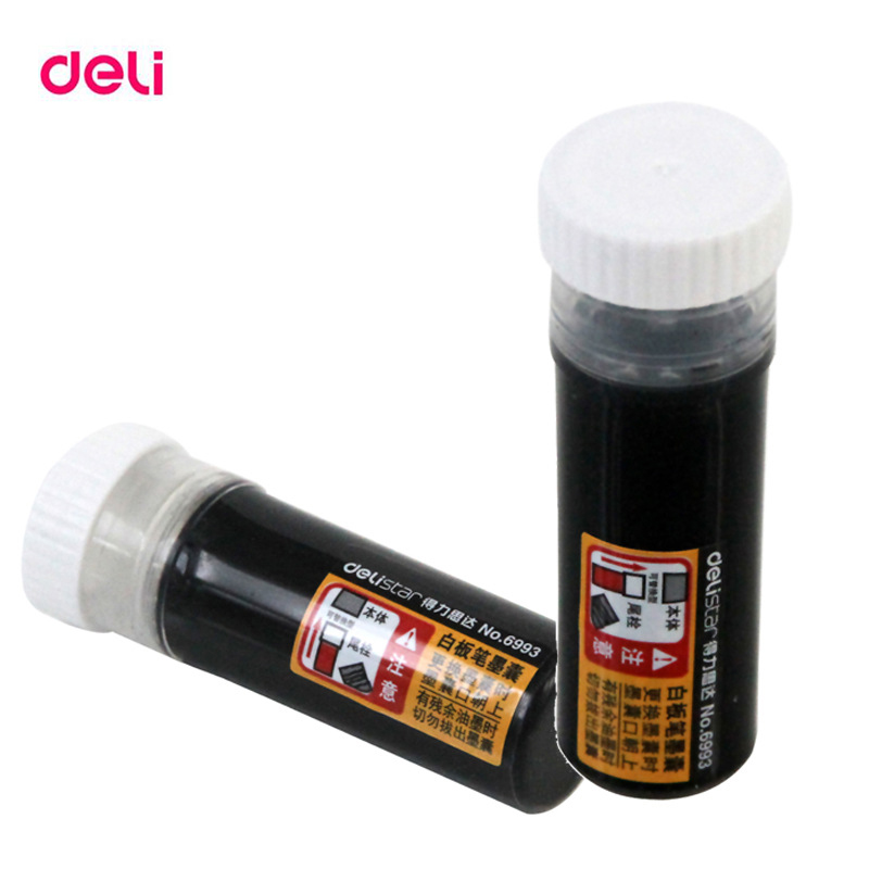 Deli 800 Meters Length Of Writing 5pcs Black Large Capacity Chancery Whiteboard Marker Pens Ink Refills