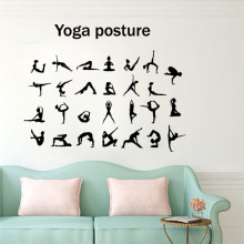 цена на Creative Yoga Posture Wall Sticker Vinyl Art Removable Poster Mural Yoga Studio Bedroom Decals Decor LY1340