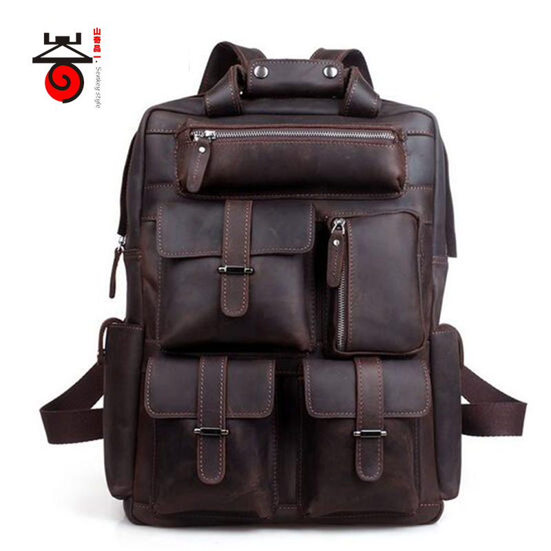 Senkey style Men Backpack Genuine Leather Men Travel Bag Crazy Horse Vintage Casual Backpack Large Capacity Double Shoulder Bag цена и фото