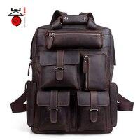 Senkey style Men Backpack Genuine Leather Men Travel Bag Crazy Horse Vintage Casual Backpack Large Capacity Double Shoulder Bag