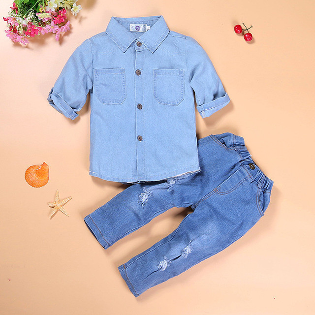 Child Girls boutique pure color clothes suit handsome girl  blue denim shirt and jeans with hole