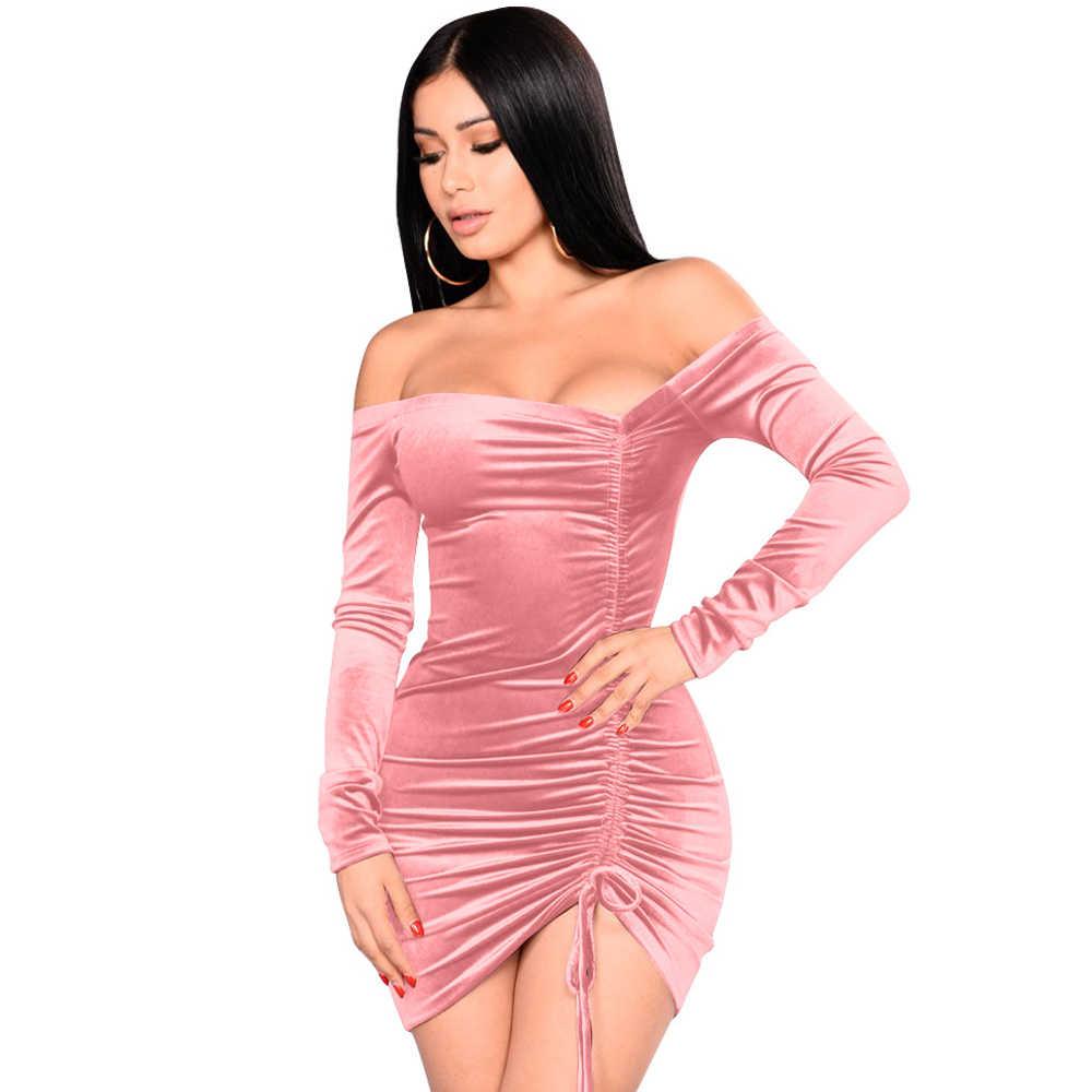 a3feb266a2f0c ... Lift Up Drawstring Ruched Women Velvet Dresses Sexy Off Shoulder Long  Sleeve Wrap Party Dress Elegant ...